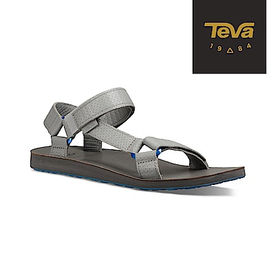 TEVA 美國-男 Original Moto 金屬扣環皮革涼鞋 鴿子灰