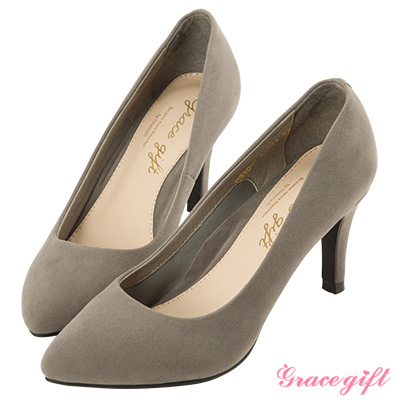 Grace gift-彈性減壓~素面百搭尖頭跟鞋 灰