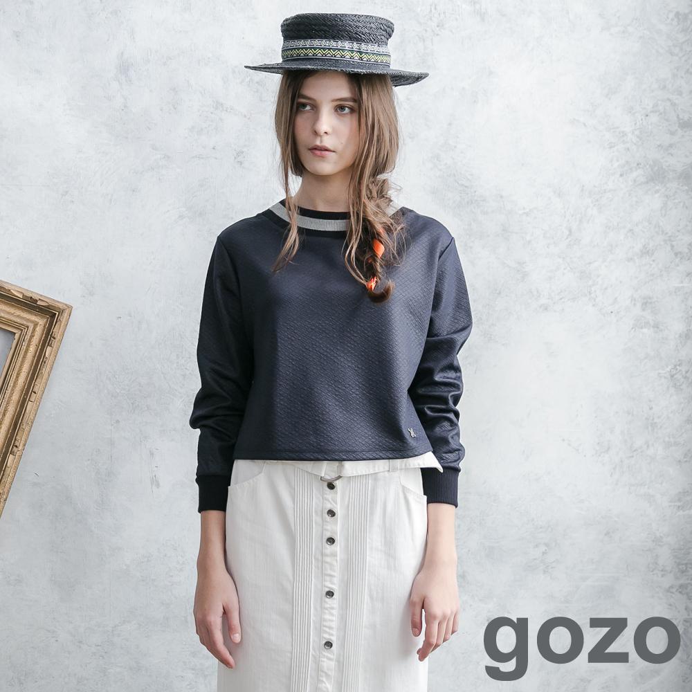 gozo網格壓摺短版特色圓領上衣深藍