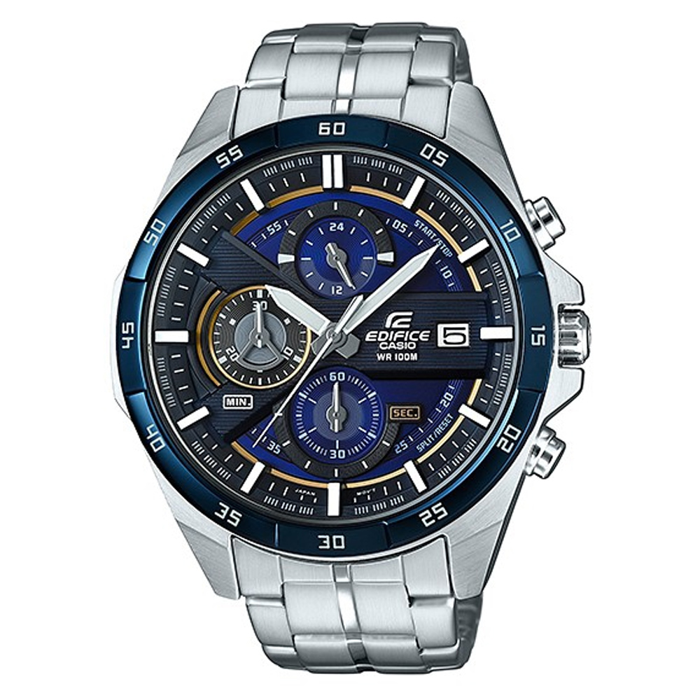 EDIFICE極速俐落3D立體盤設計帥氣指針賽車錶EFR-556DB-2藍框48.7mm