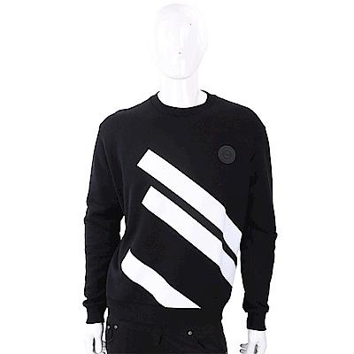 Versus Versace 經典徽章撞色條紋黑色長袖運動衫