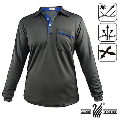 【遊遍天下】台灣製男款抗UV吸濕排汗機能POLO長衫GL10013深灰