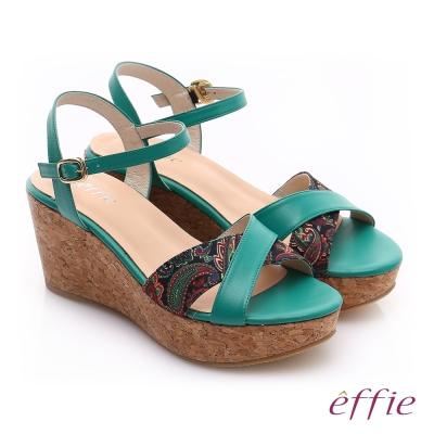 effie 摩登美型 真皮拼接民俗風布料楔型涼鞋 綠