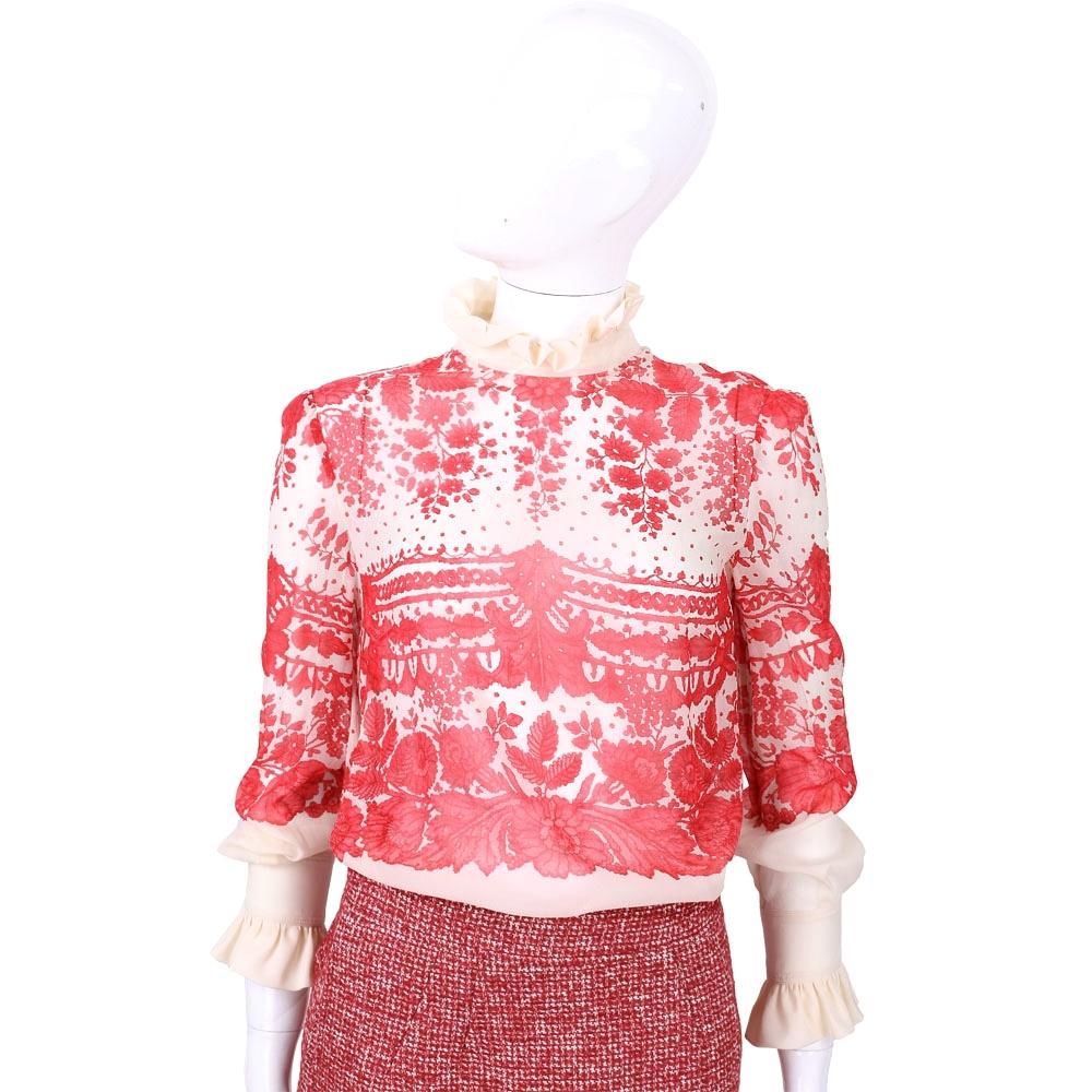 PHILOSOPHY 紅/米色荷葉領印花絲質上衣