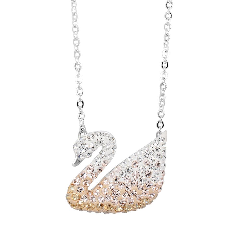 SWAROVSKI 施華洛世奇 漸層水晶天鵝造型銀色項鍊