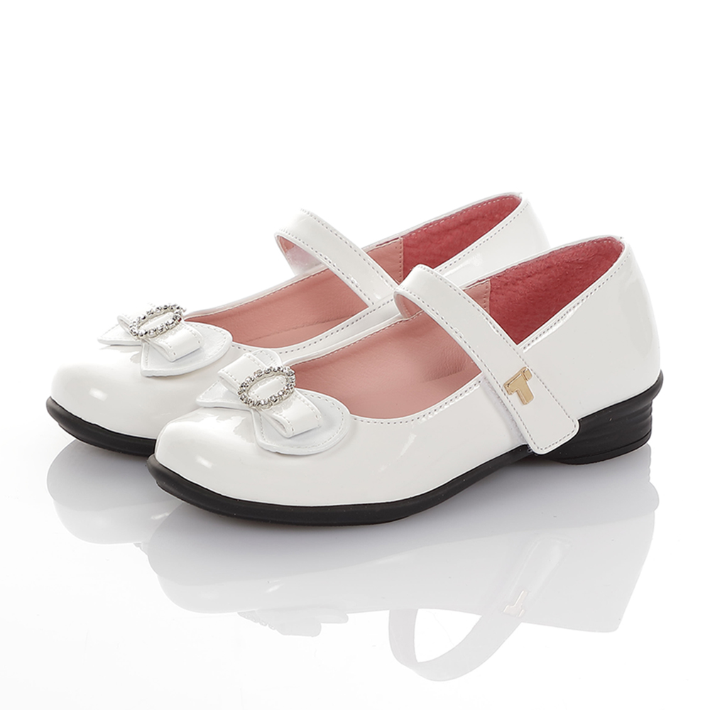 TOPUONE童鞋 傳統手工鞋廠水鑽減壓公主皮鞋-白