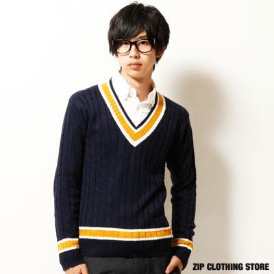 ZIP日本男裝 針織V領網球毛衣