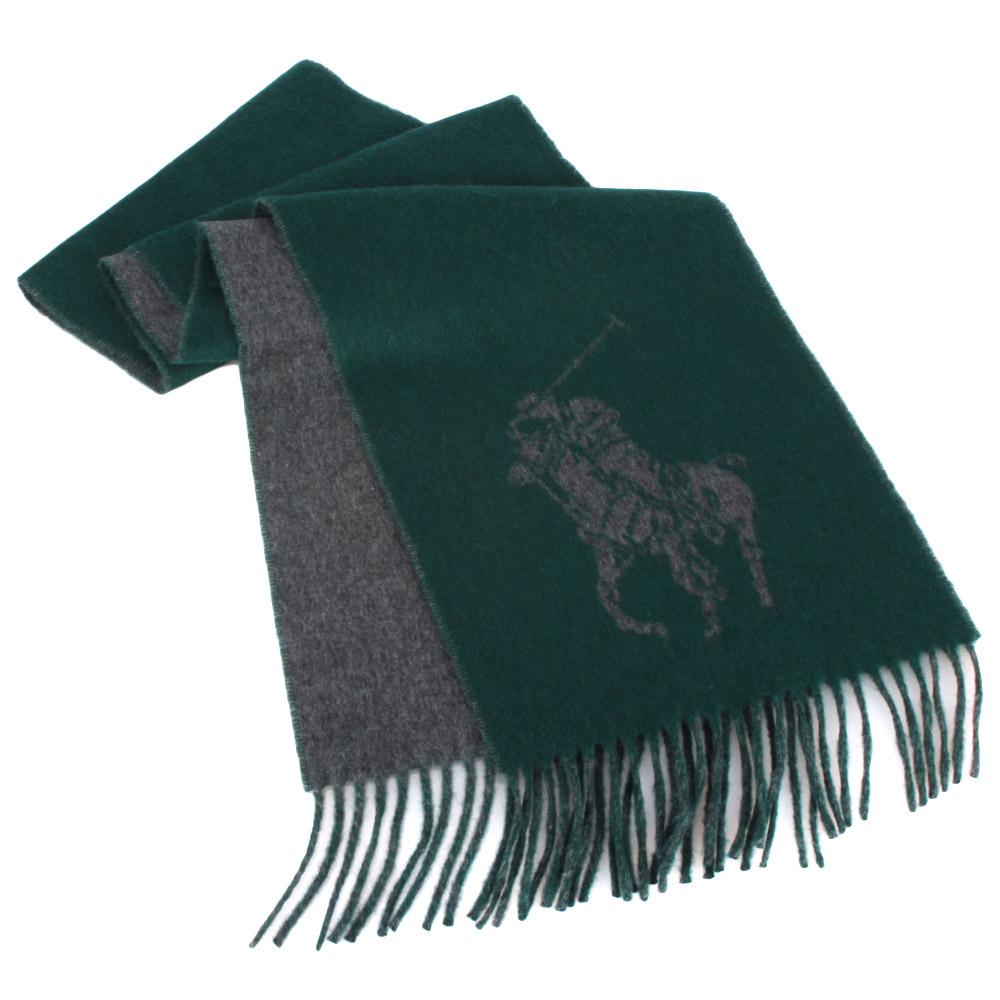 RALPH LAUREN POLO 經典大馬LOGO雙色羊毛圍巾-綠色GUCCI