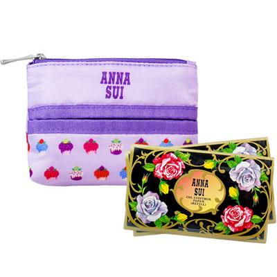 ANNA SUI 安娜蘇 魔幻巧妝吸油面紙補充包*2+紫戀甜心面紙零錢包