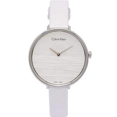 CK Calvin Klein 清新木質感女性手錶(K7A231L6)-銀白面/38mm