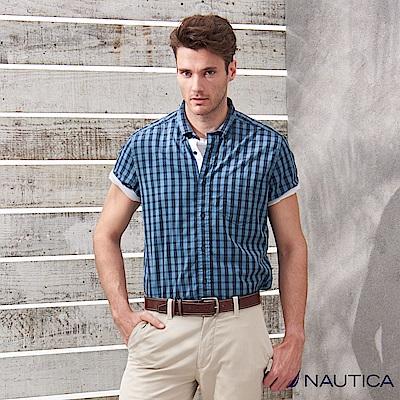 Nautica經典復古格紋短袖襯衫-藍