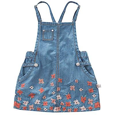 Dave Bella 牛仔細肩帶裙襬刺繡花朵吊帶洋裝