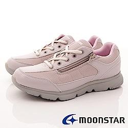 日本Moonstar戶外健走鞋-抗菌柔軟系列-1629淺紫(女段)