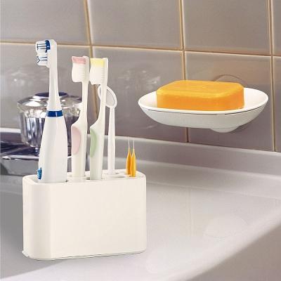 【特惠組】日本LEC可變換收納牙刷架+兩用式吸盤皂盤