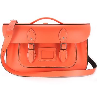 The Leather Satchel 英國手工牛皮劍橋包 肩背後背包 珊瑚紅 15吋
