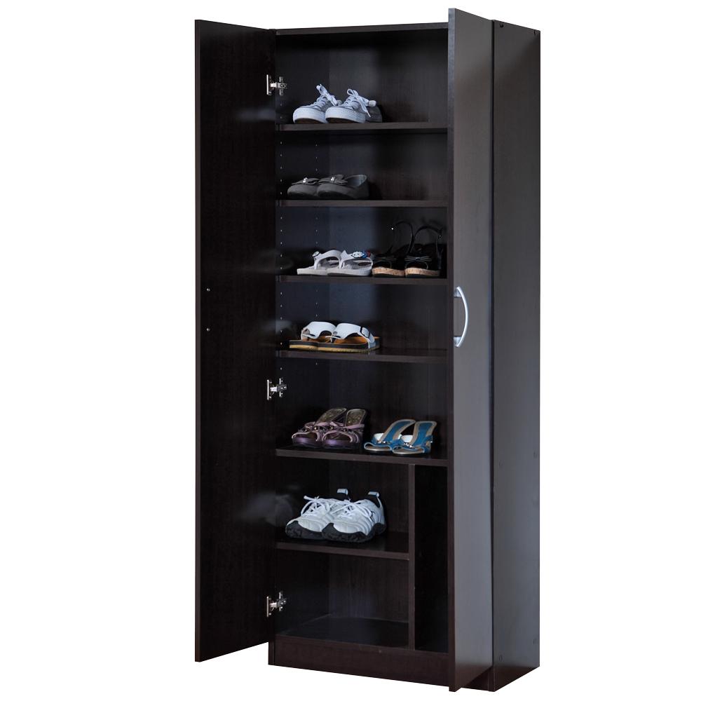 妮娜-二門鞋櫃/收納櫃-(胡桃木色)