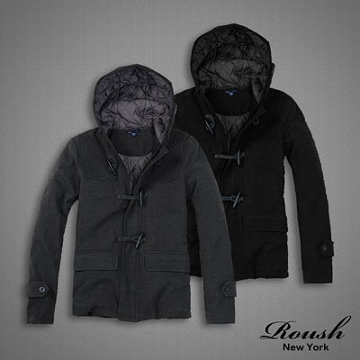 【 ROUSH 】ZARA風格牛角釦設計連帽鋪棉毛料短大衣 (2色)