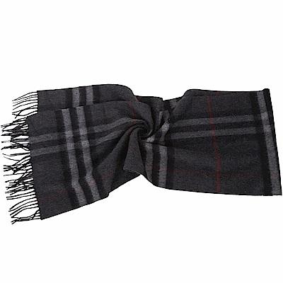 BURBERRY 100%喀什米爾炭灰色經典格紋圍巾