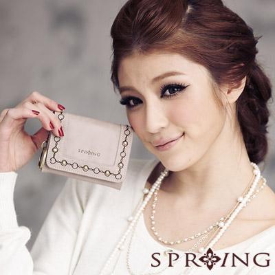 【SPRING】時尚名模~英倫美學刺繡零錢包-咖啡杏(共兩色)