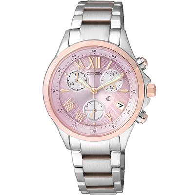 xC 陽光魅力光動能計時錶(FB1404-69W)-淡粉紅x玫瑰金/32mm