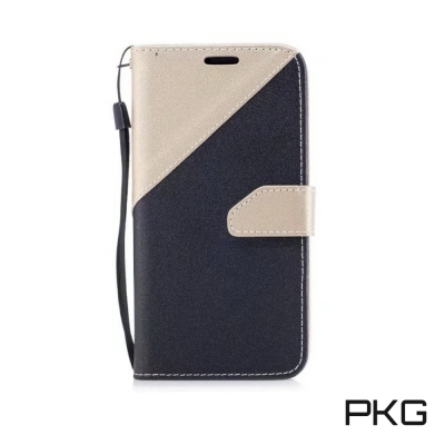 PKG Samsung J3PRO側翻式皮套經典皮革系列-金色