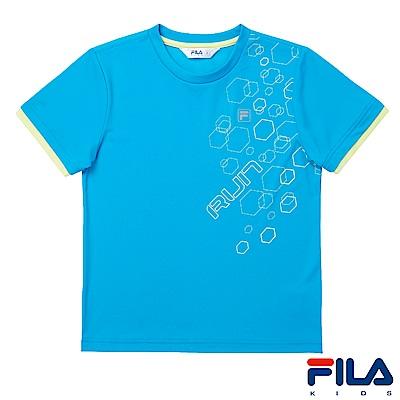 FILA KIDS 男童抗UV吸濕排汗上衣-天空藍1TES-4310-SK