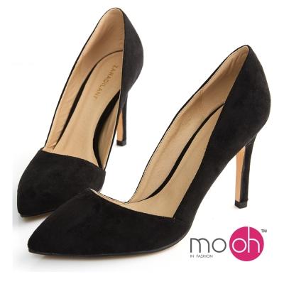 mo-oh-素面側鏤空麂皮絨面質感高跟鞋-黑