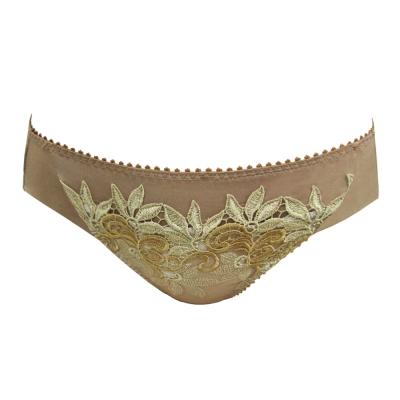 曼黛瑪璉-Marie One 刺繡蕾絲 低腰三角萊克內褲(閃耀棕)