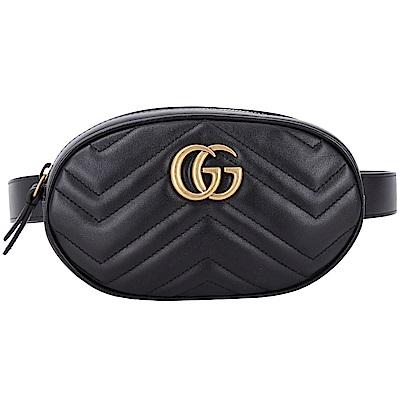 GUCCI GG Marmont 山型絎縫皮革手拿/腰包(黑色)