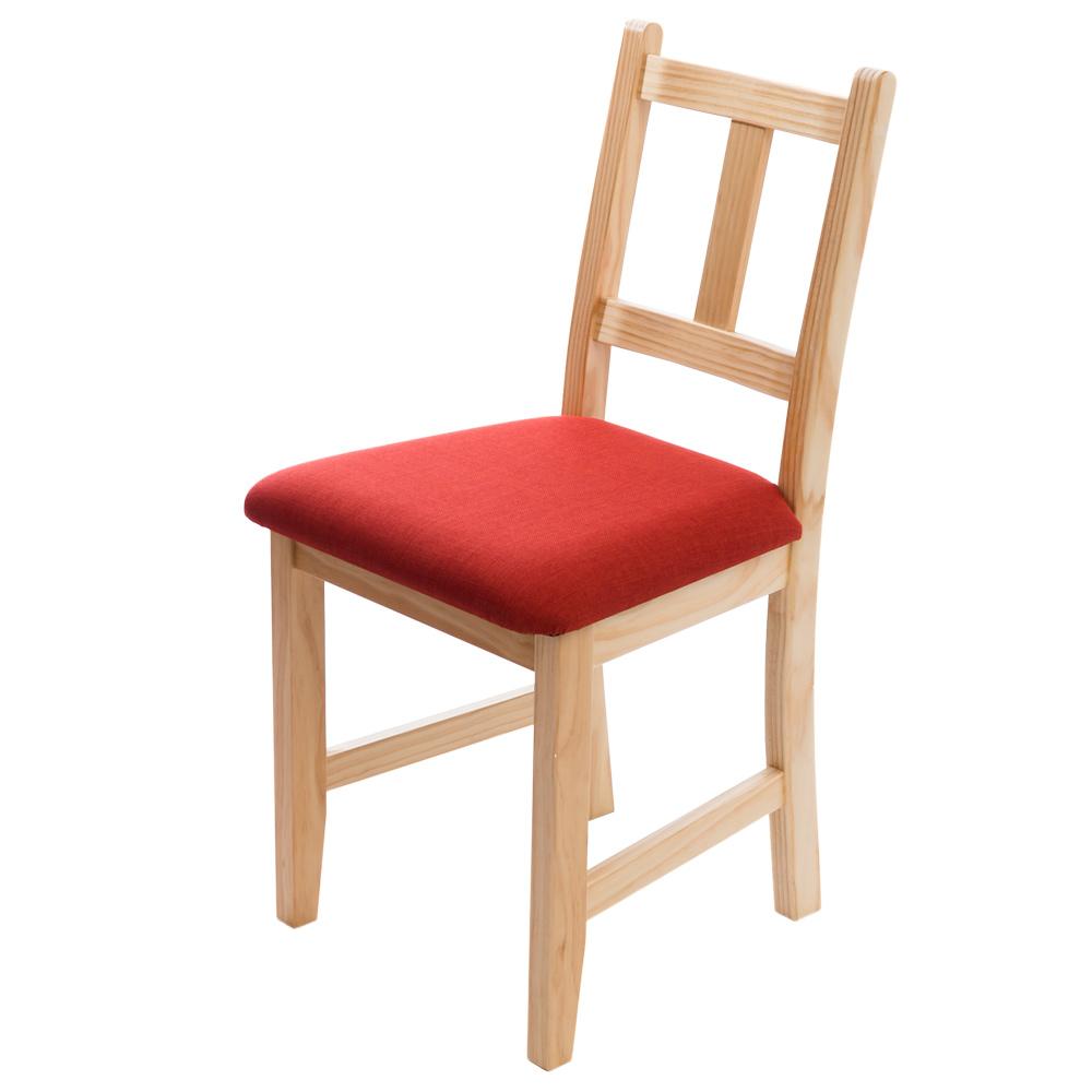 CiS自然行實木家具- 南法實木書椅(扁柏自然色)橘紅色椅墊