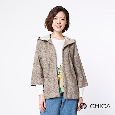 CHICA 冬日樂園七分連帽絨毛外套(2色)