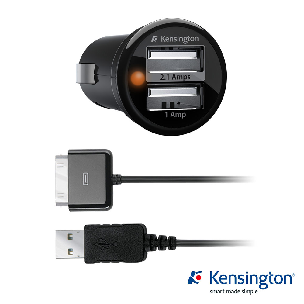 Kensington 33497雙 Port 車用電源 USB 供應器 & 原廠認證傳輸線