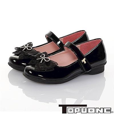 TOPUONE童鞋 傳統手工鞋廠蝴蝶結減壓公主皮鞋-黑