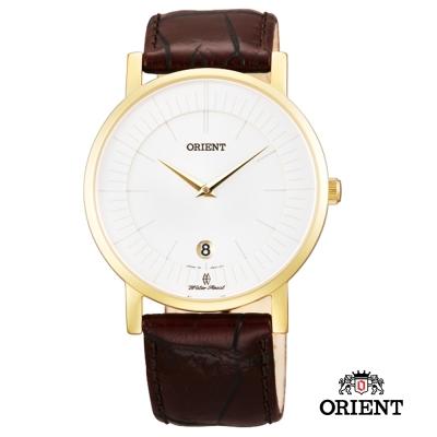 ORIENT 東方錶 SLIM系列 超薄簡約優雅藍寶石鏡面石英錶-金色/38mm