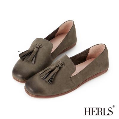 HERLS 全真皮 知性輕恬流蘇造型樂福鞋-深灰色
