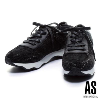 休閒鞋-AS-異材質拼接晶鑽蕾絲綁帶厚底休閒鞋-黑