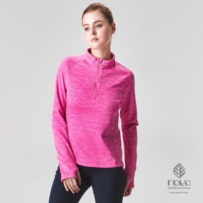 NOYA-女MIT時尚雪花磨毛超輕蓄溫保暖立領衫-亮桃紅-N63WC19