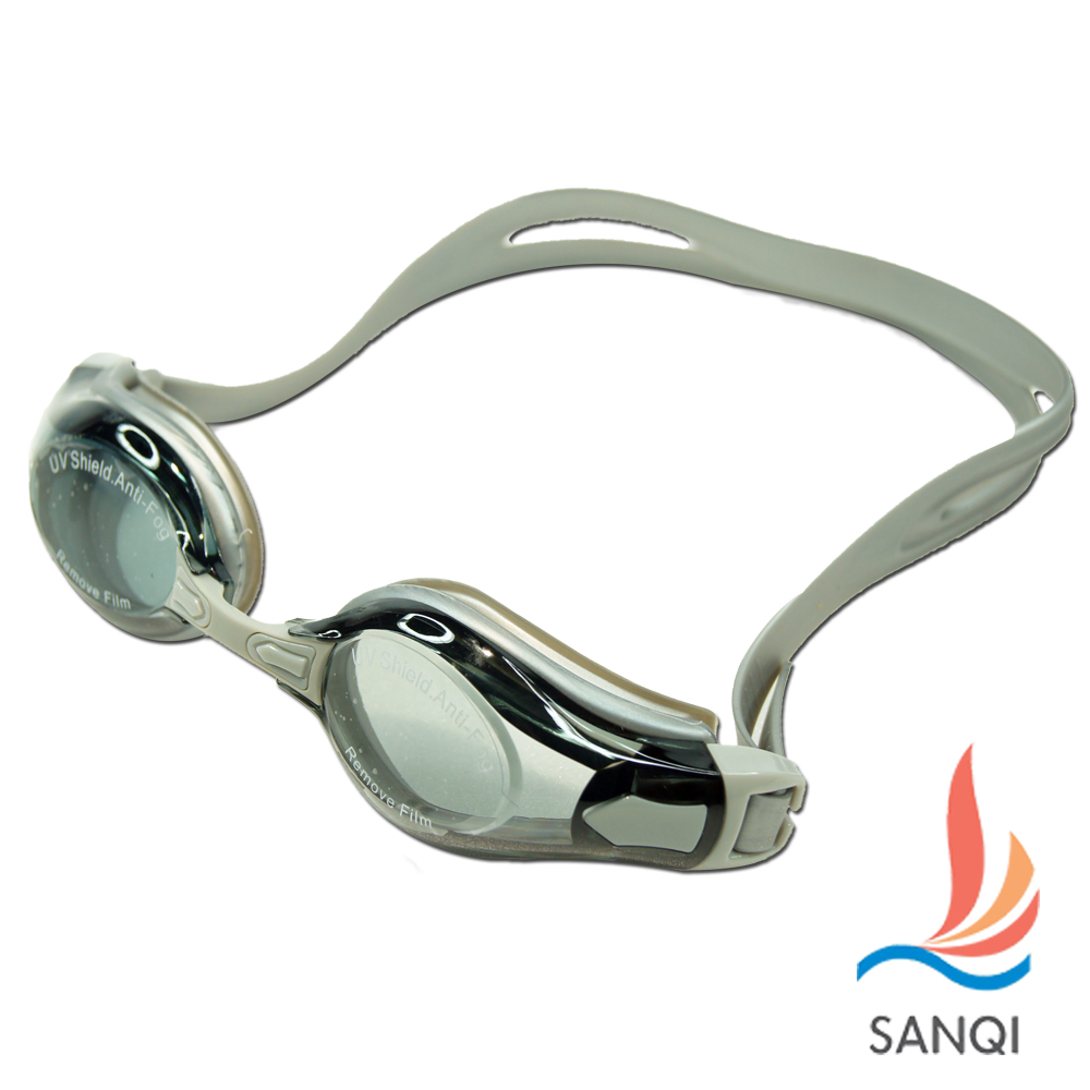SANQI三奇 夏日必備抗UV防霧休閒泳鏡(2978-灰F)