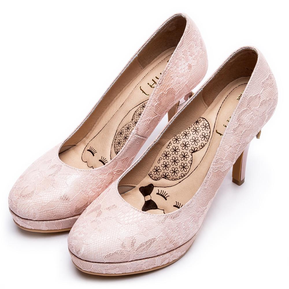 DIANA波爾多法式蕾絲布晚宴跟鞋-超厚切LADY款-粉
