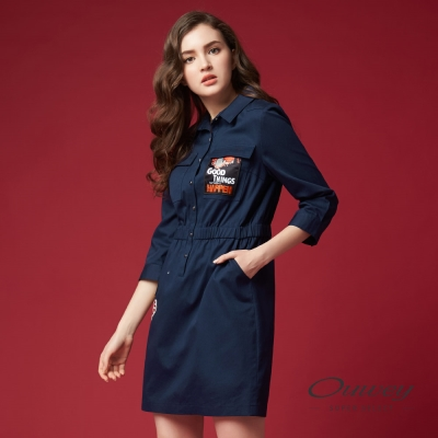 OUWEY歐薇 率性貼布刺繡洋裝(藍)-動態show