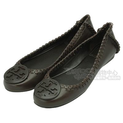 TORY BURCH 立體簍空LOGO編織飾邊牛皮平底娃娃鞋(咖啡色)