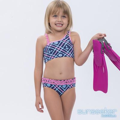 澳洲Sunseeker泳裝小女童抗UV防曬兩件式比基尼泳衣-海軍藍