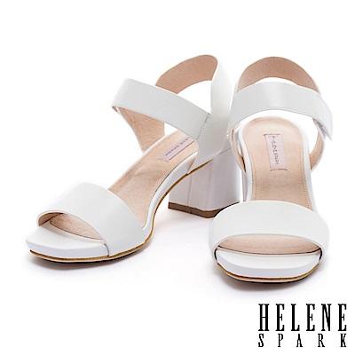 涼鞋 HELENE SPARK 簡約典雅寬一字帶純色羊皮粗跟涼鞋-白