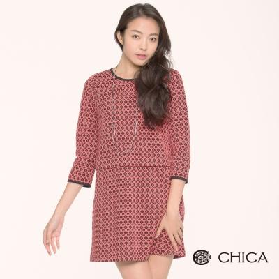CHICA 菱格紋八分袖洋裝(2色)