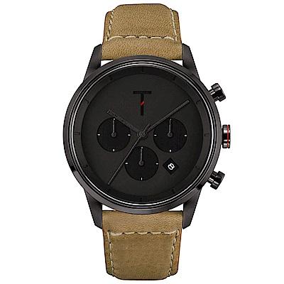 TYLOR 風尚三眼計時皮革手錶-黑X卡其/43mm