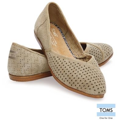 TOMS 緹花麂皮平底尖頭鞋-女款