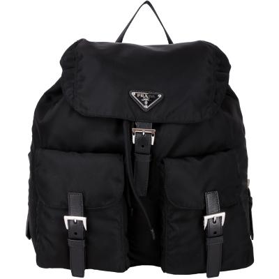PRADA-口袋-尼龍-後背包-黑