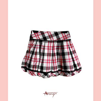 Annys甜美荷葉抓皺擺格紋短裙*1182紅
