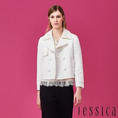 【JESSICA】優雅女伶簡約夾克外套(白)