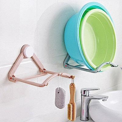 吸盤式 衛浴 自動回彈 臉盆置物架 掛架(灰藍)